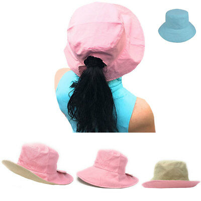 1 Dozen Ponytail Pony Tail Bucket Hat Hats Ramie Cotton Reversible Wholesale Lot