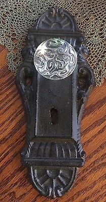 Cast Iron Door Plate With Glass/Acrylic Knob Antique Rustic/Brown With Keyhole