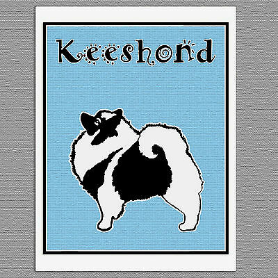 6 Keeshond Graphic Dog Blank Art Note Greeting Cards
