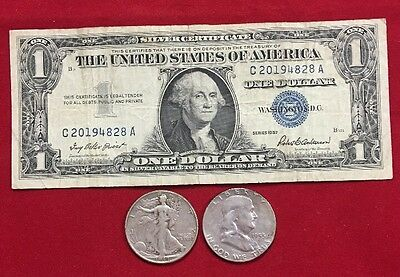 $1.00 Silver Certificate, Walking Liberty Half, and Franklin Half
