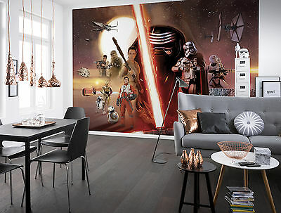Giant paper wallpaper 368x254cm Star Wars Collage wall mural for boys room RED
