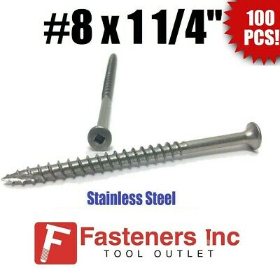 """(Qty 100) #8 x 1-1/4"""" Stainless Steel Deck Screws Square Drive Wood Type 17"""