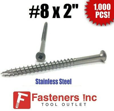 "(Qty 1000) #8 x 2"" Stainless Steel Deck Screws Square Drive Wood Type 17"