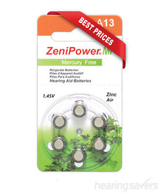 NEW ZeniPower Hearing Aid Batteries A13 (size 13) MF from Hearing Savers