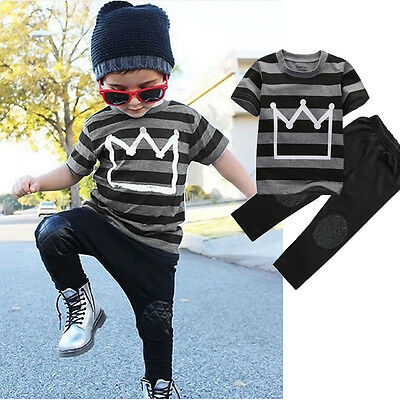 Summer Baby Toddler Kids Boys Clothes Tops Pants 2PCS Outfits Tracksuit set 2-8Y