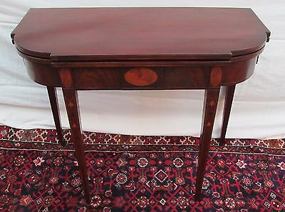 18Th Century Inlaid Mahogany Massachusetts Hepplewhite Game Table-Finest Item!