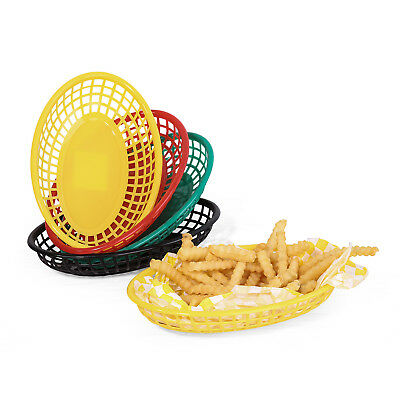 9.25'' Classic Oval Plastic Serving Basket Black Fast Food Basket Bread 12pcs