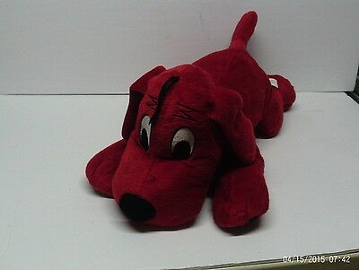 """Clifford The Big Red Dog Plush Red 17"""" Laying Stuffed Animal Scholastic"""