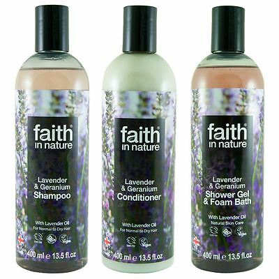 Faith In Nature Lavender & Geranium Shampoo, Conidtioner & Shower Gel Trio