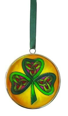 Stained Glass Three Leafed Shamrock  Hanging Decoration, 6cm Diameter