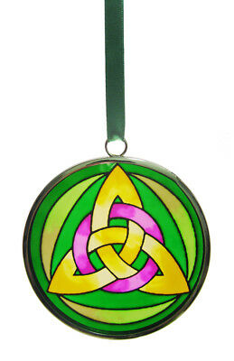 Stained Glass Trinity Knot Hanging Decoration, 6cm Diameter, With Green Ribbon