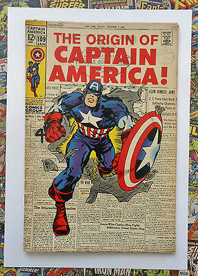 Captain America #109 - Jan 1969 - Origin Retold! - Fn- (5.5) Rare Cents Copy!