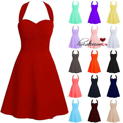 New Stock Short Chiffon Formal Prom Party Cocktail Gown Evening Bridesmaid Dress