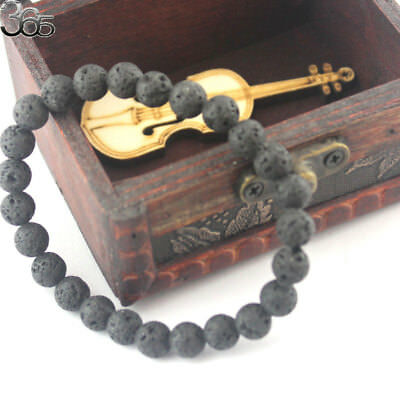 8mm Natural Gemstone Round Blacl Volcanic Lava Stretchy Bracelet 7-8.5inch