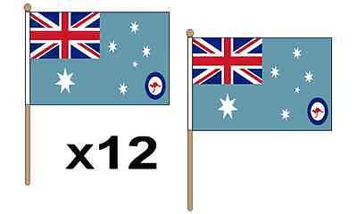 "Pack Of 12 (9"" x 6"") Australia RAF Ensign Hand Waving Flags 36cm Wooden Pole"