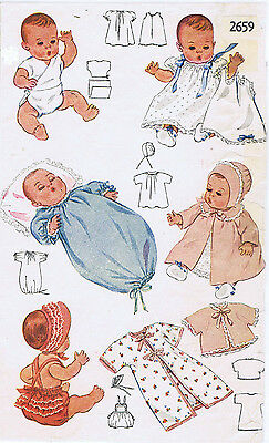 "2659 Vintage Baby Doll Pattern - Size 15"" -Year 1948"