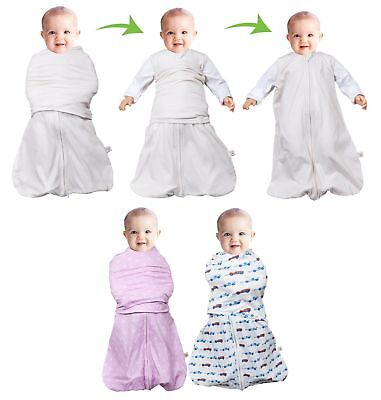 Clevamama 0-3 Baby Infant Swaddle 3 in 1 Sleeping Bag Pink Blue Summer/Winter