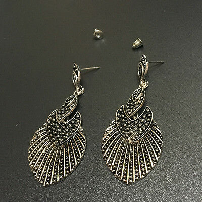 Bohemian Boho Style Ethnic Leaf Shaped Antique Silver Dangle Stud Women Earrings