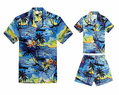 Matching Father Son Hawaiian Luau Outfit Men Shirt Boy Shirt Shorts Sunset Blue