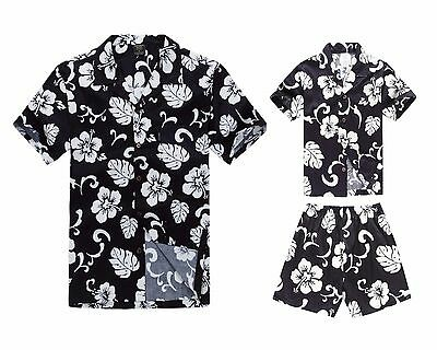 7e30d40ca Matching Father Son Hawaiian Luau Outfit Men Shirt Boy Shirt Shorts  Hibiscus Nav