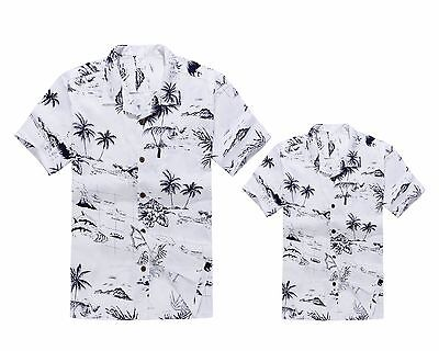 Matching Father Son Hawaiian Luau Outfit Men Shirt Boy Shirt White Map