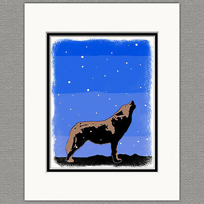 Howling Wolf Sunset Colorful Graphics Original 8x10 Art Print Matted 11x14