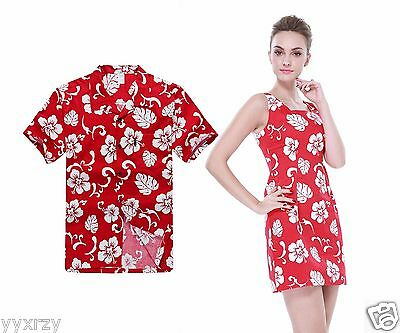 Couple Matching Shirt Dress Outfit Hawaiian Cruise Valentine Luau Hibiscus Red