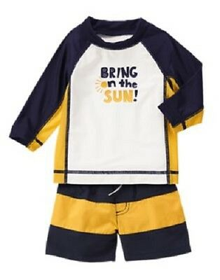 """Gymboree """"Bring On The Sun"""" Blue & Yellow Swimsuit & Top Infant Boy 3-6 Months"""