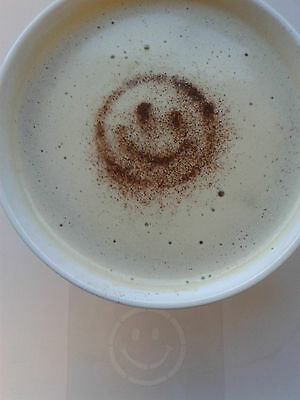 2 x smiley face coffee / cappuccino stencil reusable many times gift present