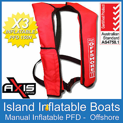 3 x AXIS OFFSHORE INFLATABLE  LIFEJACKET RED 150N PFD1 Manual Jacket FREE POST