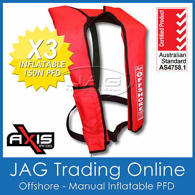 3 x AXIS OFFSHORE INFLATABLE  LIFEJACKET ✱ RED ✱ 150N PFD1 Manual Life Jacket