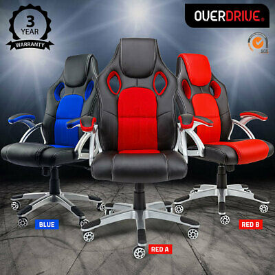 OVERDRIVE Racing Office Chair Seat Executive - Computer Gaming PU Leather Deluxe