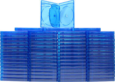 (60) BR4R21BL Empty 21mm Thick QUAD Blue Replacement Boxes / Cases Blu-Ray DVD