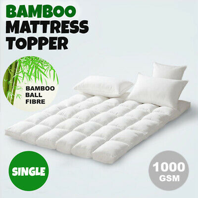 SINGLE SIZE-Luxury Bamboo Ball Fibre Pillowtop Mattress Topper Protector Pad