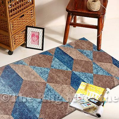 BOSTON BEIGE TEAL BLUE GEOMETRIC DIAMONDS DESIGN MODERN RUG RUNNER 80x300cm *NEW