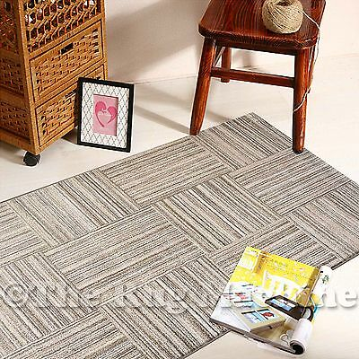 BOSTON BEIGE CREAM LINES SQUARES DESIGN MODERN FLOOR RUG RUNNER 80x300cm **NEW**