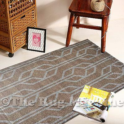 BOSTON BEIGE BROWN GREY GEOMETRIC DESIGN MODERN FLOOR RUG RUNNER 80x300cm **NEW*