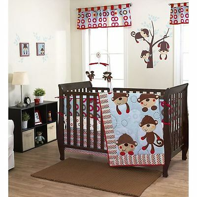 8pcs Max Baby Bedding Crib Cot Quilt Bumpers Sheet US Brand Monkey Boy