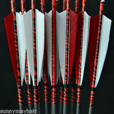 6pcs Anti-nailing Carbon Arrows with Real Red-and-white Feather for Archery