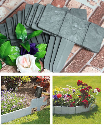 40XGrey Garden Edging Cobbled Stone Effect Plastic Plant Hammer-In Lawn Palisade