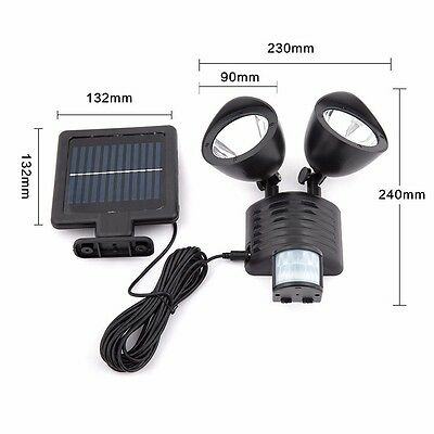 22 LED Outdoor Garden Solar Powered PIR Motion Detector Rechargeable Floodlight