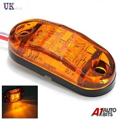 10 Pcs Orange Amber 24V 2 Led Side Marker Indicators Lights Truck Lorry E-Marked