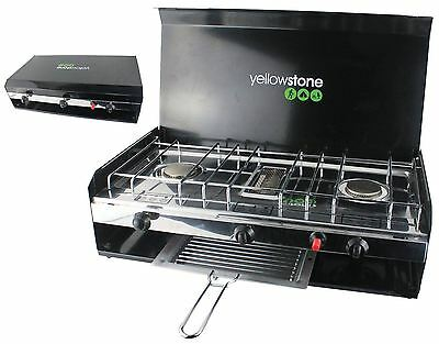 Deluxe Camping Double Gas Burner Cooker Stove & Grill Lid Piezo Ignition Travel
