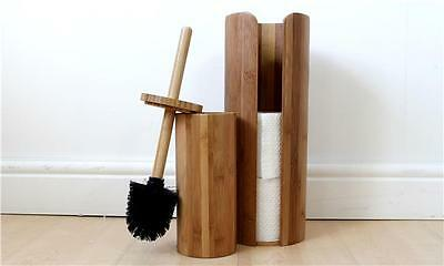 Bamboo Toilet Roll Store and Brush Set, Home, Bathroom, Toilet Accessories, New