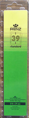 PRINZ Standard STAMP MOUNTS 39mm CLEAR Backing Pack of 25 Strips 210mm x 39mm