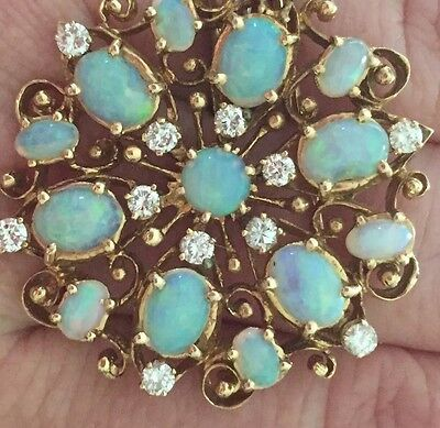 OPAL & DIAMOND BROOCH PIN 14KT Super Fiery And Sparkly Vintage 1960s Pendant