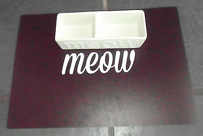 Ceramic Meow Cat Feeding Set Cat Kitten Bowls And Mat Set Classic Black