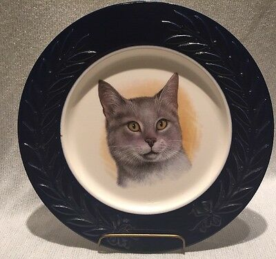 Vintage Adorable CAT Portrait Porcelain Plate Blue Trim Gray Tabby