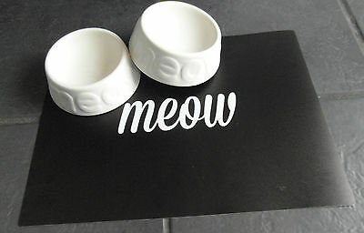 Ceramic Meow Cat Bowls And Feeding Mat Set White Ancol Cat Bowls And Black Mat