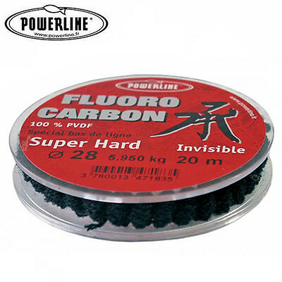 NYLON DE PECHE POWERLINE FLUOROCARBON SUPER HARD 20M Modèle: 12/100
